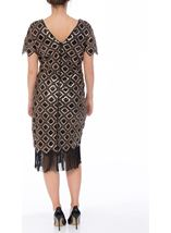 Bead And Sequin Short Sleeve Midi Dress Black/Gold - Gallery Image 2
