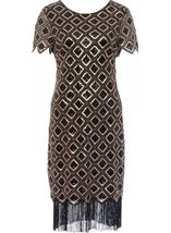 Bead And Sequin Short Sleeve Midi Dress Black/Gold - Gallery Image 3