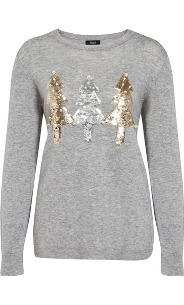 Embellished Christmas Tree Long Sleeve Knit Top Lt Grey Marl