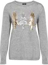 Embellished Christmas Tree Long Sleeve Knit Top Lt Grey Marl - Gallery Image 1