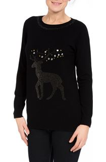 Embellished Reindeer Knit Top