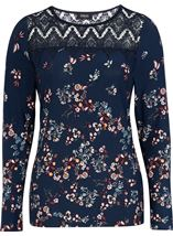 Crochet Trim Printed Jersey Top Navy/Multi - Gallery Image 1