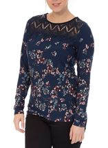 Crochet Trim Printed Jersey Top Navy/Multi - Gallery Image 2