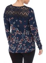 Crochet Trim Printed Jersey Top Navy/Multi - Gallery Image 3