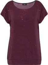 Cold Shoulder Spangle Top Wine - Gallery Image 1