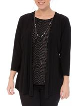 Anna Rose Moc Two Piece Top With Necklace Black/Multi - Gallery Image 2