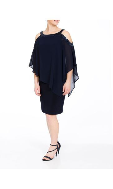 Chiffon Layered Cold Shoulder Jersey Midi Dress