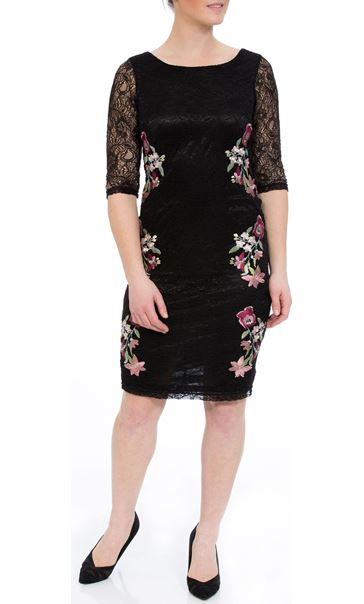 Embroidered Lace Fitted Midi Dress Black/Multi