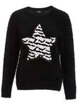 Two Way Sequin Star Christmas Knit Top Black - Gallery Image 1