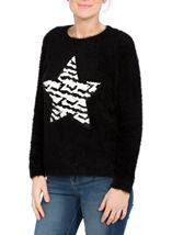Two Way Sequin Star Christmas Knit Top Black - Gallery Image 2
