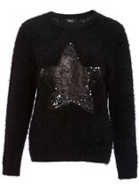 Two Way Sequin Star Christmas Knit Top Black - Gallery Image 3