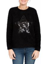 Two Way Sequin Star Christmas Knit Top Black - Gallery Image 4