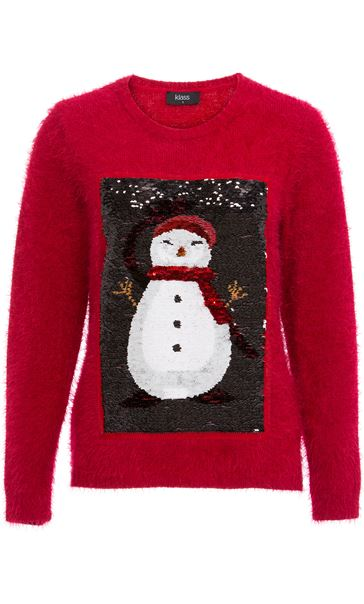 Two Way Sequin Christmas Knit Top Red - Gallery Image 2