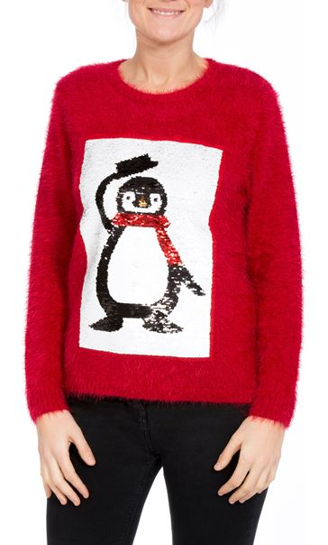Two Way Sequin Christmas Knit Top Red - Gallery Image 3
