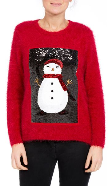Two Way Sequin Christmas Knit Top Red - Gallery Image 4
