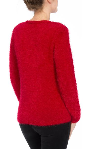 Two Way Sequin Christmas Knit Top Red - Gallery Image 5