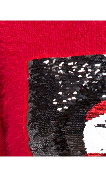 Two Way Sequin Christmas Knit Top Red - Gallery Image 7