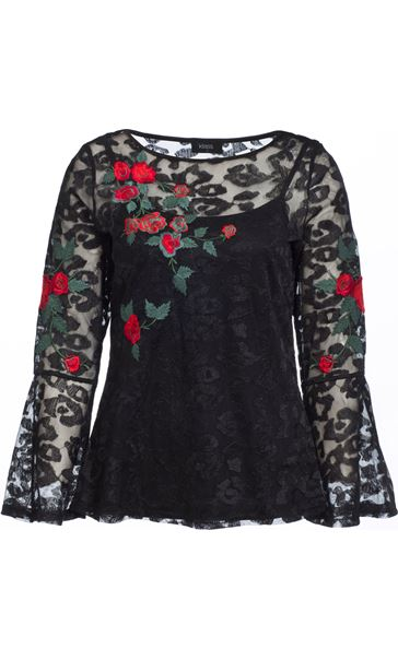 Embroidered Lace Bell Sleeve Top Black Multi