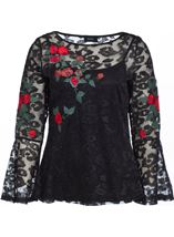 Embroidered Lace Bell Sleeve Top Black Multi - Gallery Image 1