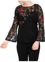 Embroidered Lace Bell Sleeve Top Black Multi - Gallery Image 2