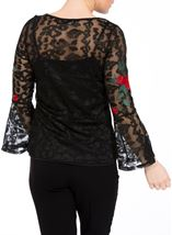 Embroidered Lace Bell Sleeve Top Black Multi - Gallery Image 3