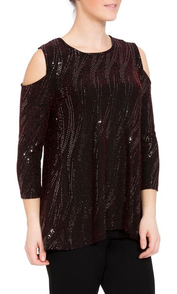 Cold Shoulder Spangle Top Black/Red/Silver