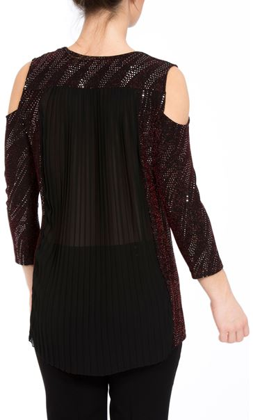 Cold Shoulder Spangle Top Black/Red/Silver - Gallery Image 3