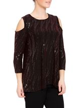 Cold Shoulder Spangle Top Black/Red/Silver - Gallery Image 1