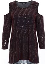 Cold Shoulder Spangle Top Black/Red/Silver - Gallery Image 2