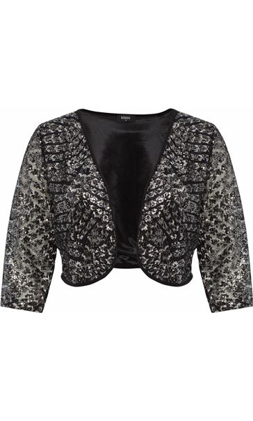 Embellished Lined Mesh Open Jacket Black/Silver