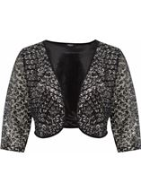 Embellished Lined Mesh Open Jacket Black/Silver - Gallery Image 1
