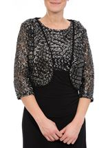 Embellished Lined Mesh Open Jacket Black/Silver - Gallery Image 2