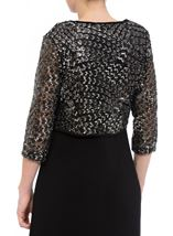 Embellished Lined Mesh Open Jacket Black/Silver - Gallery Image 3