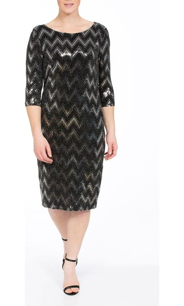 Spangle Chevron Fitted Midi dress Black/Silver