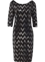 Spangle Chevron Fitted Midi dress Black/Silver - Gallery Image 3