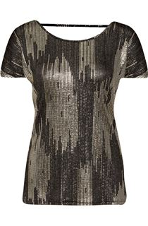 Loose Fit Short Sleeve Foil Print Top