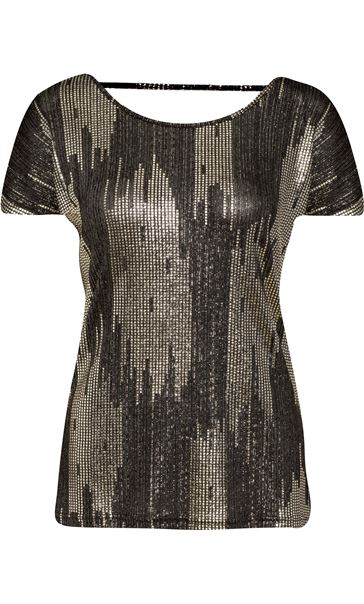 Loose Fit Short Sleeve Foil Print Top Black/Gold
