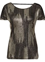 Loose Fit Short Sleeve Foil Print Top Black/Gold - Gallery Image 1
