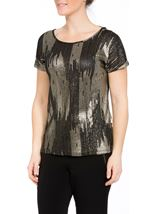 Loose Fit Short Sleeve Foil Print Top Black/Gold - Gallery Image 2