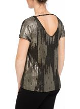 Loose Fit Short Sleeve Foil Print Top Black/Gold - Gallery Image 3