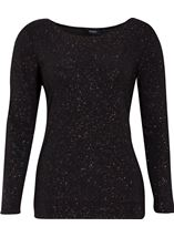 Glitter Cold Shoulder Stretch Top Black/Rainbow - Gallery Image 1