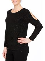 Glitter Cold Shoulder Stretch Top Black/Rainbow - Gallery Image 2
