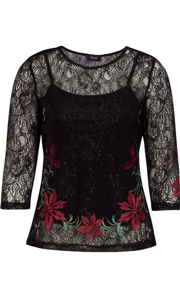 Embroidered Lace Round Neck Top Black/Red