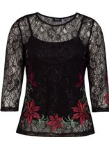 Embroidered Lace Round Neck Top Black/Red - Gallery Image 1