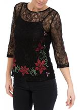 Embroidered Lace Round Neck Top Black/Red - Gallery Image 2