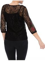 Embroidered Lace Round Neck Top Black/Red - Gallery Image 3