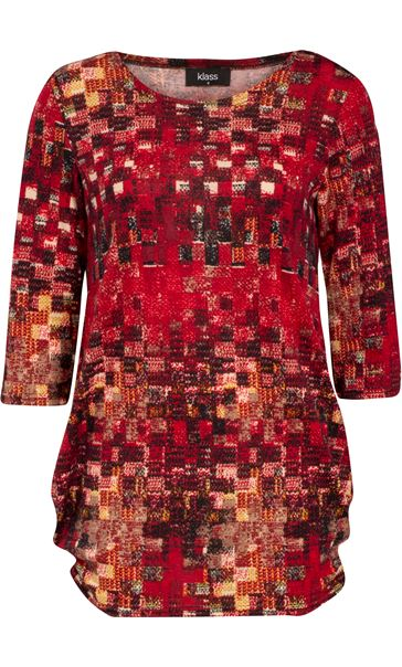 Printed Brushed Tunic Red Multi