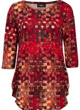 Printed Brushed Tunic Red Multi - Gallery Image 1