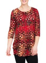 Printed Brushed Tunic Red Multi - Gallery Image 2