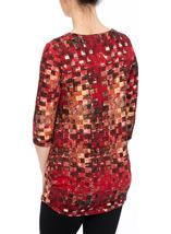 Printed Brushed Tunic Red Multi - Gallery Image 3